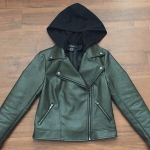 removable hood olive leather jacket S